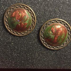 Bronze and enamel earrings